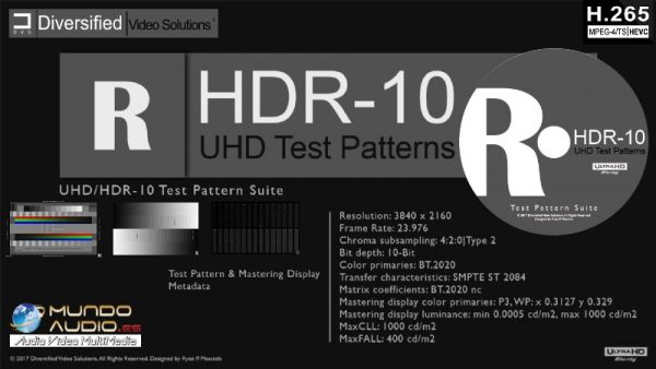 Diversified Video Solutions UHD|HDR-10 Test Pattern Suite/UltraHD Blu-ray Disc